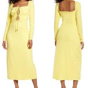 Jordan's cutout long sleeve Rib Midi Dress